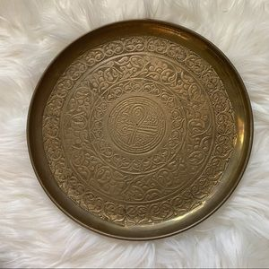 Vintage Brass Wall Decor Accent Altar Plate